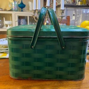 Vintage green basket weave picnic basket tin